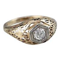 Retro Diamond Filigree Engagement Ring
