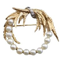 Mid Century Cultured Pearl and Diamond Brooch