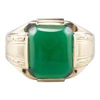 Retro Men's Green Onyx Statement Ring