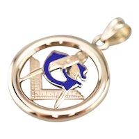 Vintage 14 Karat Gold and Enamel Masonic Pendant