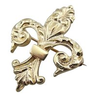 Antique Fleur De Lis Brooch for Him or Her