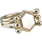 Upcycled Seed Pearl Hexagonal Signet Ring