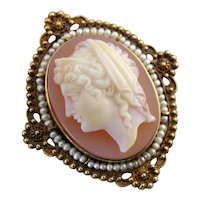 Stunning Victorian Sardonyx Cameo Brooch or Pendant, Elegant Cultured Seed Pearl Halo