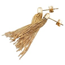 Yellow 18 Karat Gold Tassel Drop Earrings