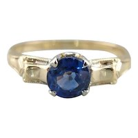 Blue Sapphire Solitaire Ring in Retro Era Ostby and Barton Setting