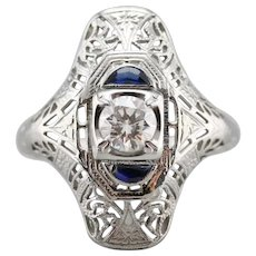 Fantastic Deco Diamond and Synthetic Sapphire Ring