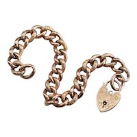 Victorian Rose 9 Carat Gold Padlock Charm Bracelet