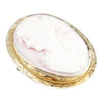 Vintage Pink Shell Cameo Brooch or Pendant