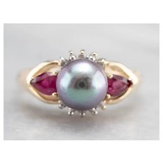 Vintage Grey Cultured Pearl Ruby and Diamond Ring