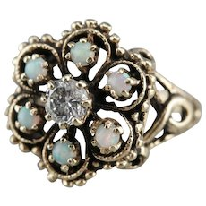 Ornate Diamond and Opal Halo Ring