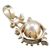 Vintage Cultured Pearl Solitaire Pendant