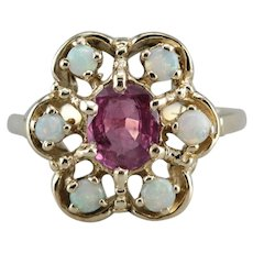 Vintage Ruby and Opal Halo Ring