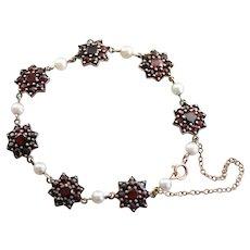 Victorian Czech Garnet and Cultured Pearl Bracelet