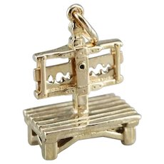 Vintage Puritan Punishment Stock Charm