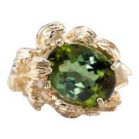 Botanical Green Tourmaline Ring