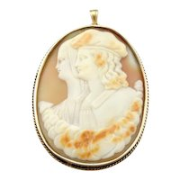 Unique Husband and Wife Cameo Pendant or Brooch