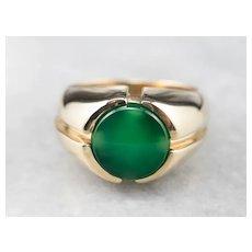 Men's Retro Era Green Onyx Ring