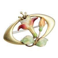 Art Nouveau Enamel Floral Pin