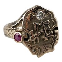 Diamond Ruby Chinese Style Signet Ring