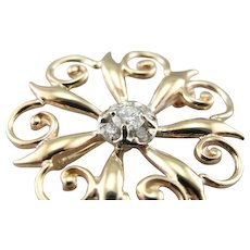 Scrolling Gothic Style Diamond Brooch