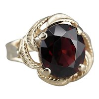 Scrolling and Swirling Garnet Cocktail Ring