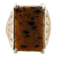 Victorian Leopard Jasper and Rose 10 Karat Gold Ring