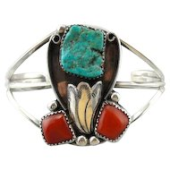 Coral and Turquoise Native American Cuff Bracelet, Beautiful Design by L. Ramone