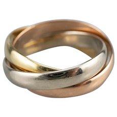 Tri Color 14 Karat Gold Rolling Ring