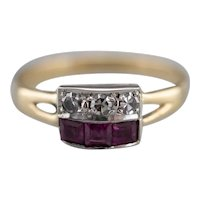 Retro Synthetic Ruby and Diamond Ring