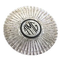 """Monogrammed """"TMG"""" Marcasite and Onyx Brooch"""