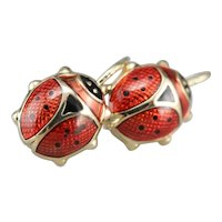 Vintage Ladybug Drop Earrings