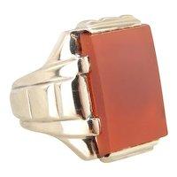 Sleek Carnelian Men's Ring from the Retro Era