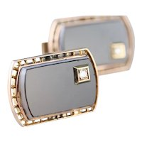 Vintage Banded Agate and Diamond Cufflinks