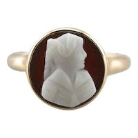Perfectly Carved Vintage Cameo Cocktail Ring