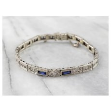Art Deco Euro Cut Diamond Filigree Bracelet