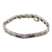 Art Deco Euro Cut Diamond Filigree Bracelet