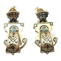 Stunning Gothic Enamel and Turquoise Drop Earrings