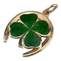 Green Enamel Four Leaf Clover Horseshoe Charm