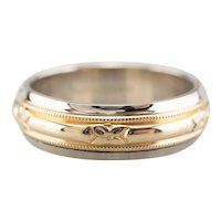 Art Carved Floral Two Toned Band