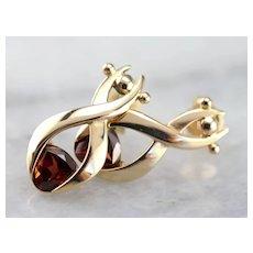 Vintage 14 Karat Gold and Garnet Drop Earrings