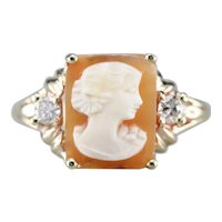 Vintage Cameo and Diamond Ring