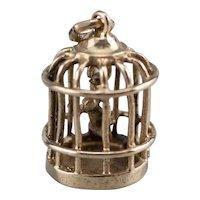 Swinging Caged Songbird Charm