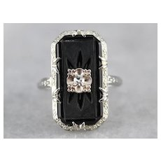 Art Deco Black Onyx Diamond Dinner Ring