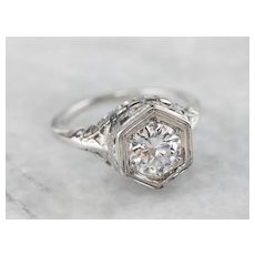 Floral Art Deco Diamond Solitaire Ring