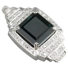 Upcycled Indicolite Tourmaline and Diamond Pendant