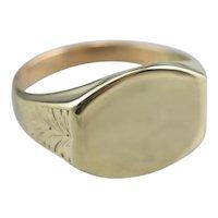 Engraved Antique Green 14 Karat Gold Signet Ring
