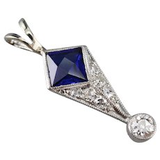 Art Deco Synthetic Sapphire Old Mine Cut Diamond Pendant