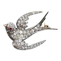 Antique Old Mine Cut Diamond and Ruby Sparrow Brooch
