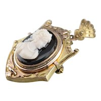 Victorian Black Onyx Cameo Mourning Locket
