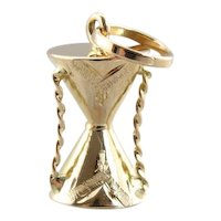 Vintage 18 Karat Gold Djembe Drum Charm